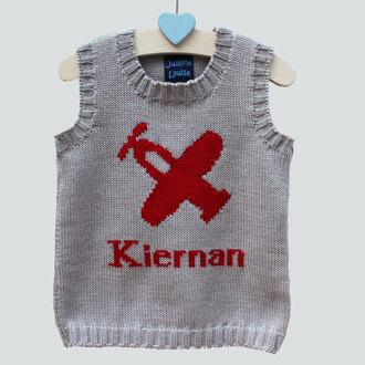 personalised boys knitted plane tank top