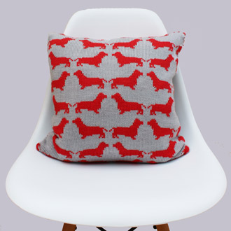 bespoke merino wool knitted dachsund cushion