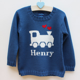 personalised knitted train jumper