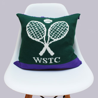 bespoke merino wool knitted tennis cushion