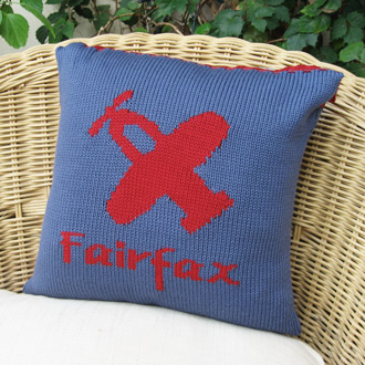 personalised knitted plane cushion