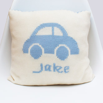 personalised knitted car cushion