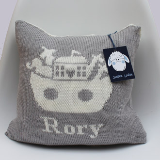 personalised knitted noahs ark cushion