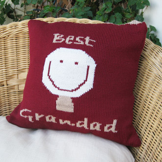 personalised knitted best grandad cushion