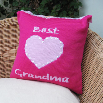 personalised knitted best grandma cushion