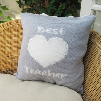personalised knitted best teacher cushion