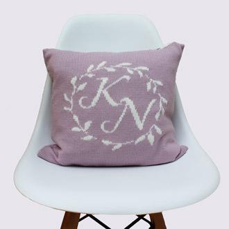 personalised knitted monogram couple cushion
