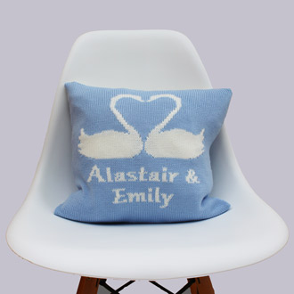 personalised knitted wedding cushion