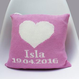 personalised knitted newborn cushion