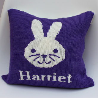 personalised knitted bunny cushion