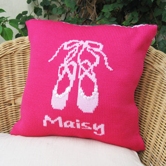 personalised knitted ballet shoes cushion