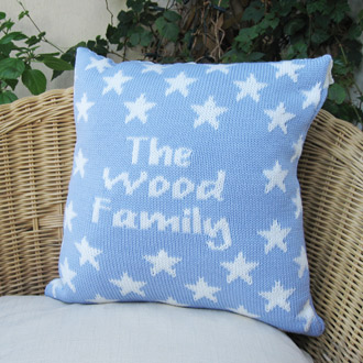 personalised knitted stars cushion