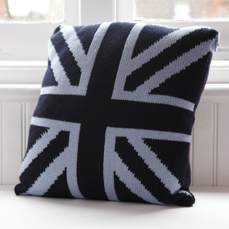 bespoke merino wool knitted union jack cushion