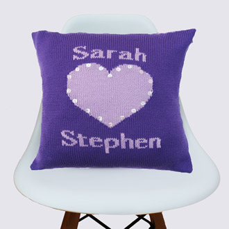 personalised knitted couples cushion