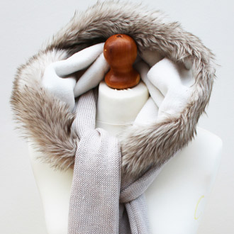 ladies merino wool knitted hooded scarf with faux fur
