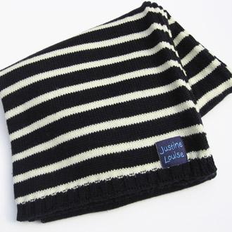 ladies merino wool knitted stripy scarf