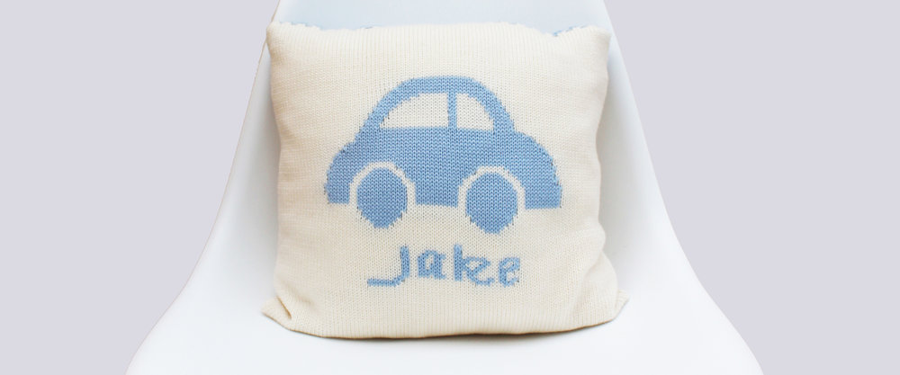 Personalised boys knitted cushions