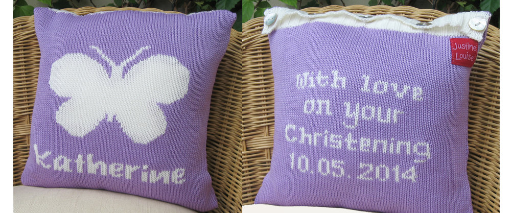 Personalised knitted cushions