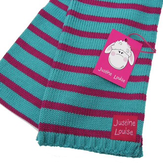 girls merino wool knitted stripy scarf