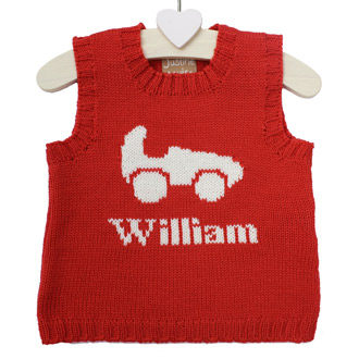 personalised knitted racing car tank top
