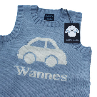 personalised boys knitted car tank top