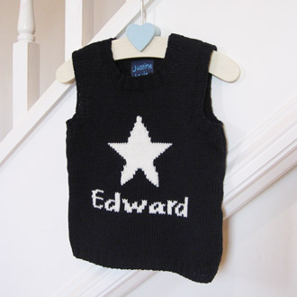 personalised boys knitted star tank top