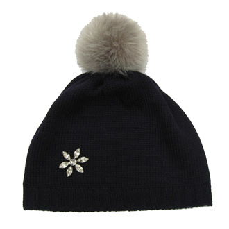 ladies merino wool knitted beanie with faux fur pompom