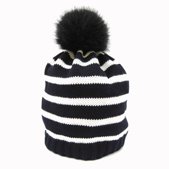 ladies merino knitted  beanie with faux fur pompom