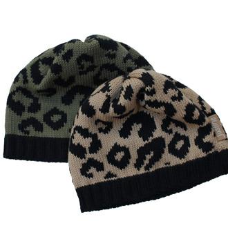 girls knitted leopard print beanie
