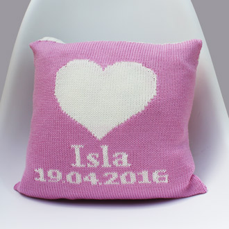 personalised knitted newborn cushion