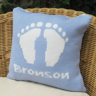personalised knitted baby boy cushions