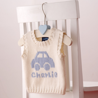 personalised baby boys knitted tank tops
