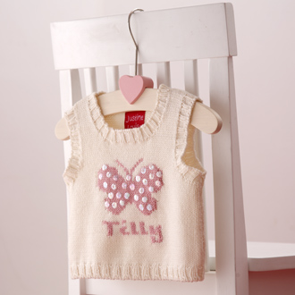 personalised baby girls knitted tank tops