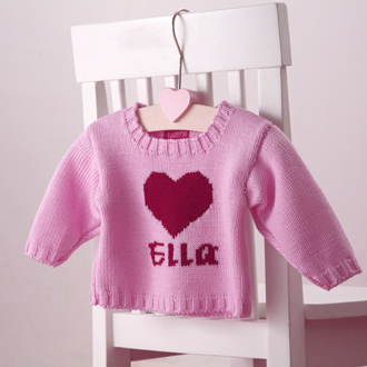 personalised knitted heart jumper