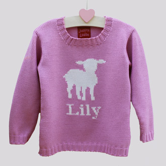 personalised knitted lamb jumper