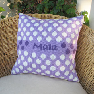 personalised knitted spot cushion