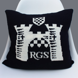 personalised knitted reigate grammar school cushion