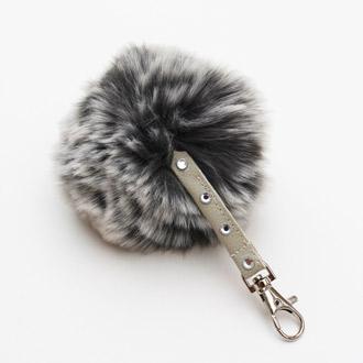 luxury diamante faux fur pompom keyring