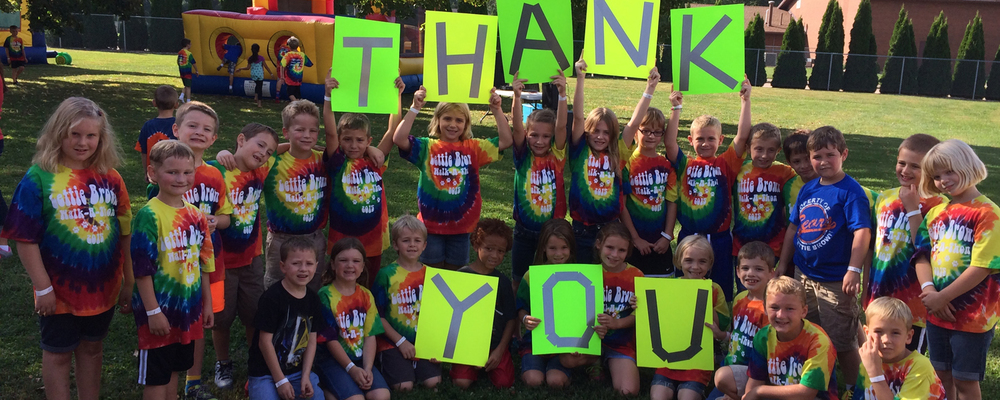 Mrs. Boecker's 2nd grade class takes time during their annual Walk-a-Thon to thank the various businesses and organizations who helped them raise money for Lettie Brown Elementary School's new playground equipment.