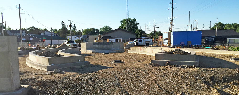Construction continues on downtown's Memorial Plaza.