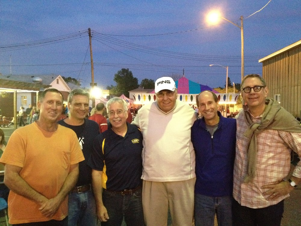 Class of '77 Cross Country team members L to R:  Jim Ackerman, Phil King, Andy Edgar, Coach Lee Smith, Randy Belsley, and Keith Krolak. This photo taken the evening after running the 2012 Pumpkin Classic 10K run, celebrating their 35th year Class Reunion.