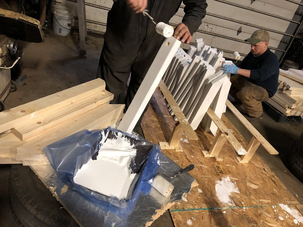 Parts primed by men at Victory Acres