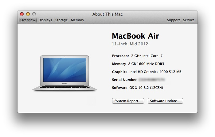 My little MacBook Air with 2GHz Core i7 processor, 8GB of memory and 256GB SSD storage