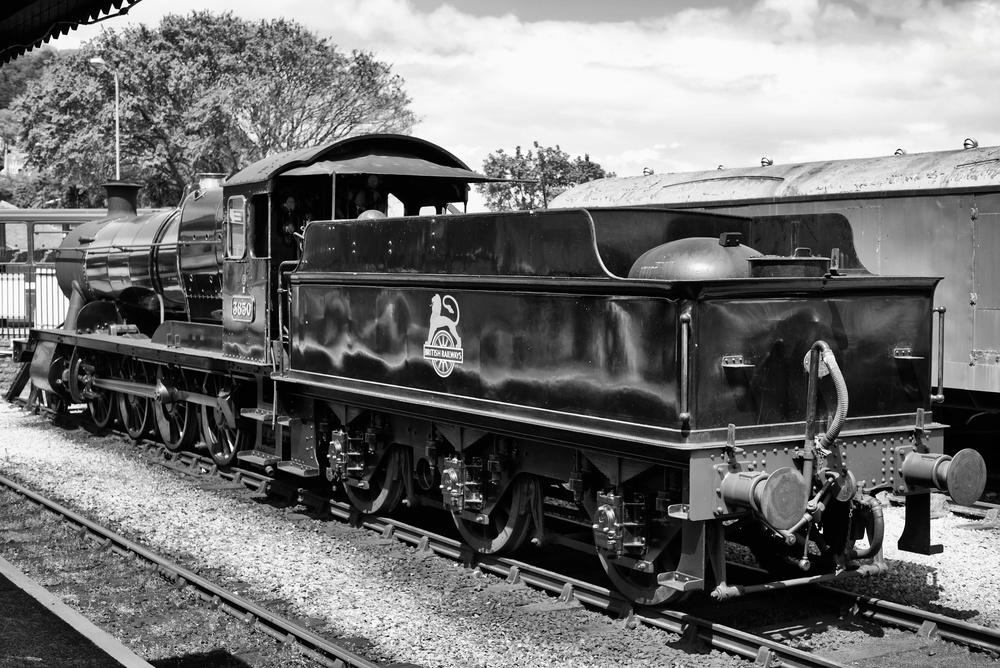 Resplendent in its black wartime livery (enhanced by the post-war British Railways badge), No 3850 was one of the last batch of twenty three 2884 Class locomotives built at Swindon in 1942 at a cost of £7,911 each (about £325,000 in depreciated 2013 pounds)