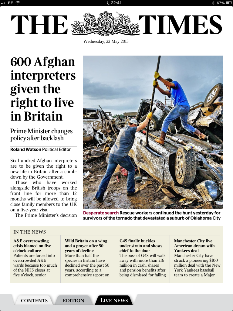 The iPad edition of The Times  is now reliable and easy to use but it lacks any ability to share , link or bookmark, even for own consumption. Like all newspapers it attempts to cater for all tastes and interests and much of a day's edition goes unread