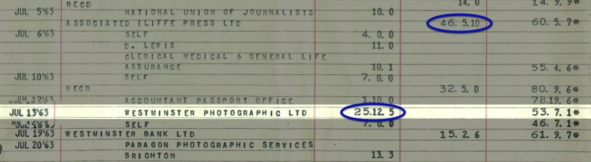The original bank statement from 1963 showing my monthly salary of £46 5s 10d and the enormous investment of £25 12s 5d in the Agfa Silette camera. I also received £32 5s which I suspect would be the windfall gains from my birthday, thus funding the camera. That final balance of £61 sounds paltry in 2013, little more than the cost of a meal for two, but in 1963 it had the purchasing power of £1,000 in today's money.