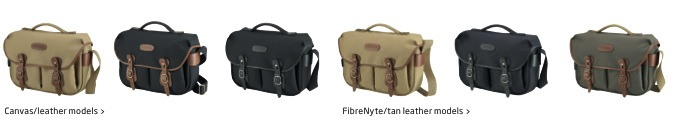 Hadley colours. This is the Hadley Pro range but the same designs are available for the Hadley Small. i chose boring old black but I like all the different designs, especially those with contrasting leather trim. The three bags on the left are in canvas, those on the right in Fibreyte