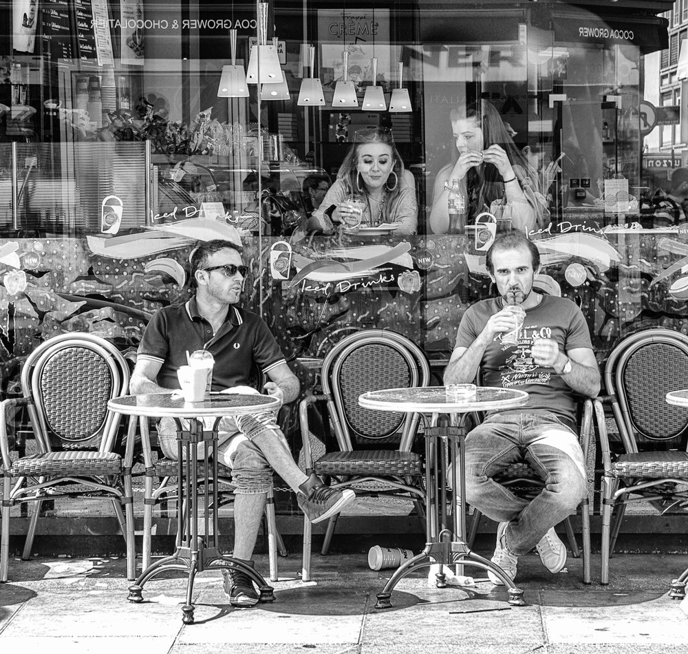 Chairs in waiting, Caffe Nero, Soho. Photo Mike Evans, Leica M Monochrom and 75mm APO Summicron in street mode, f/11 @1/125s