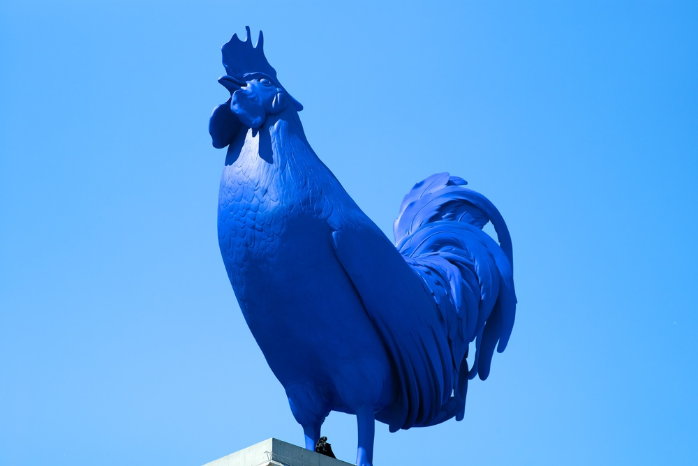It's a blue world: Cock of the north-west plinth taken between lockups with the Leica M240. Lens is a 40-year-old Canadian Leitz 90mm Tele Elmarit . Still doing the business in middle age