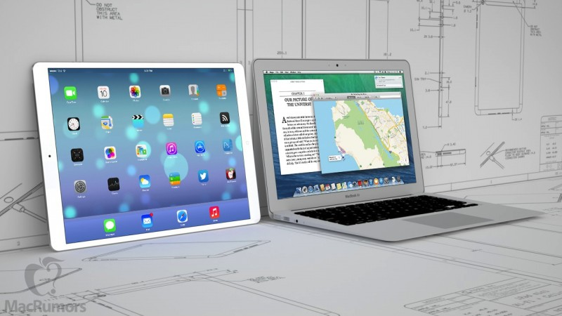 The iPad maxi compared with a 13in MacBook Air (photo MacRumors)